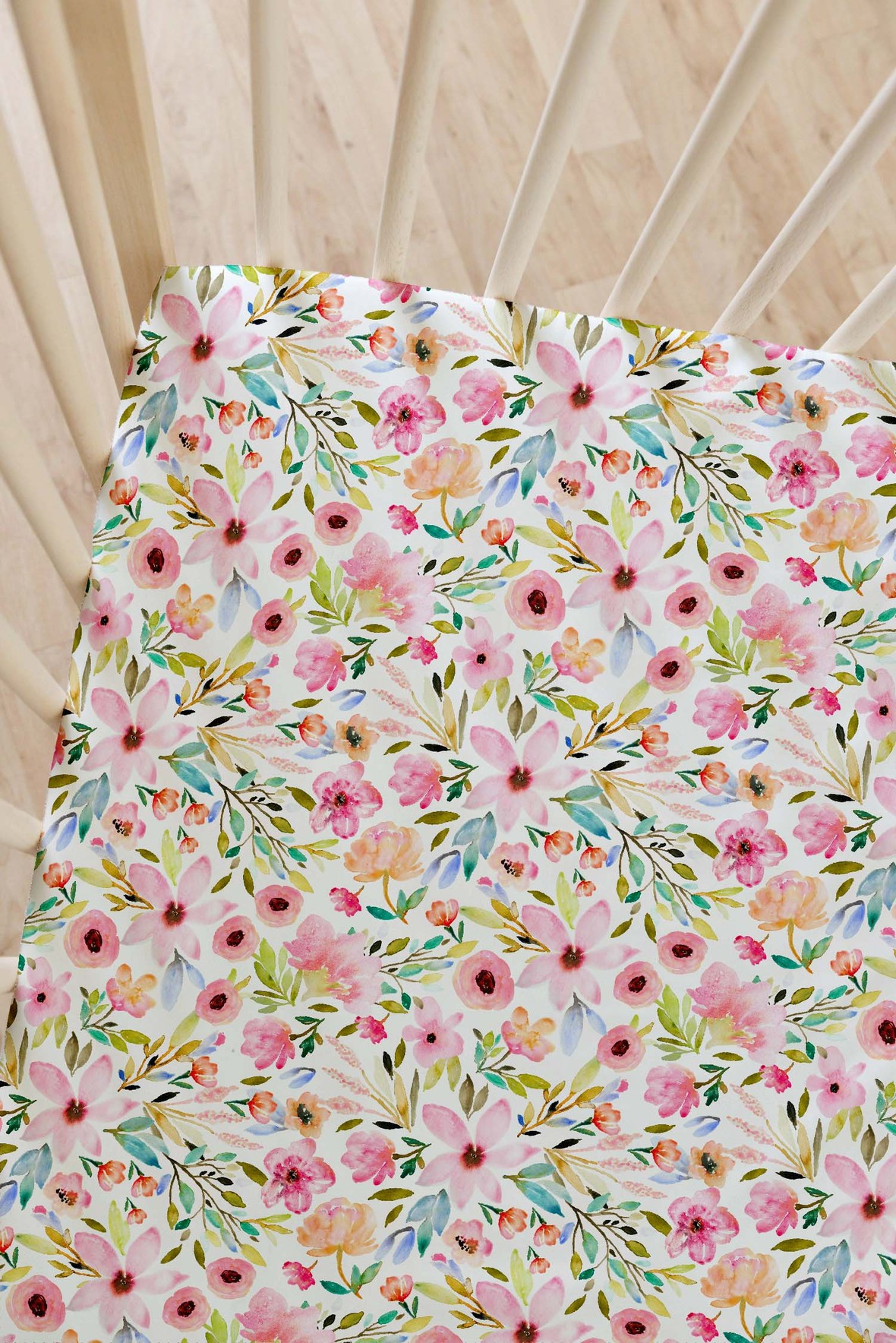 Indy Bloom Fabric Watercolor Baby Crib Sheet