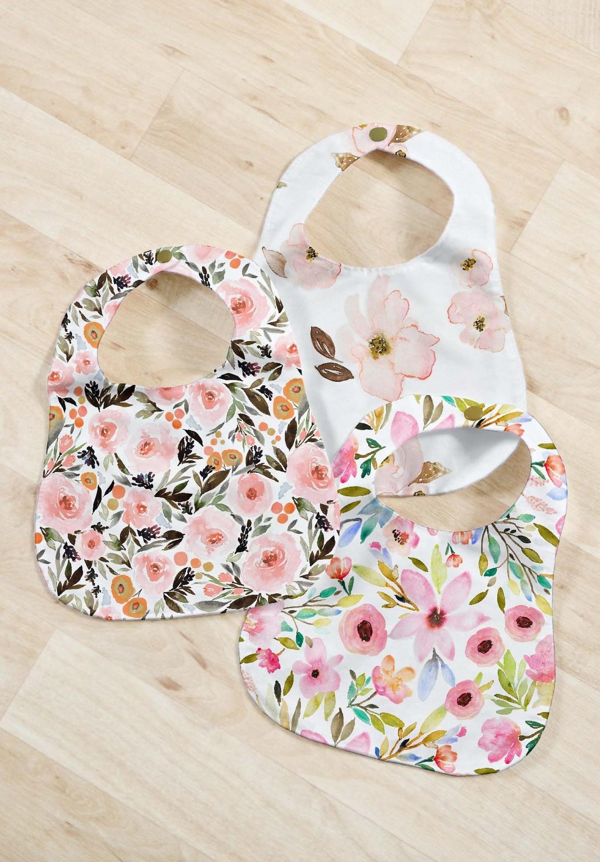 Indy Bloom Watercolor Florals Baby Bibs