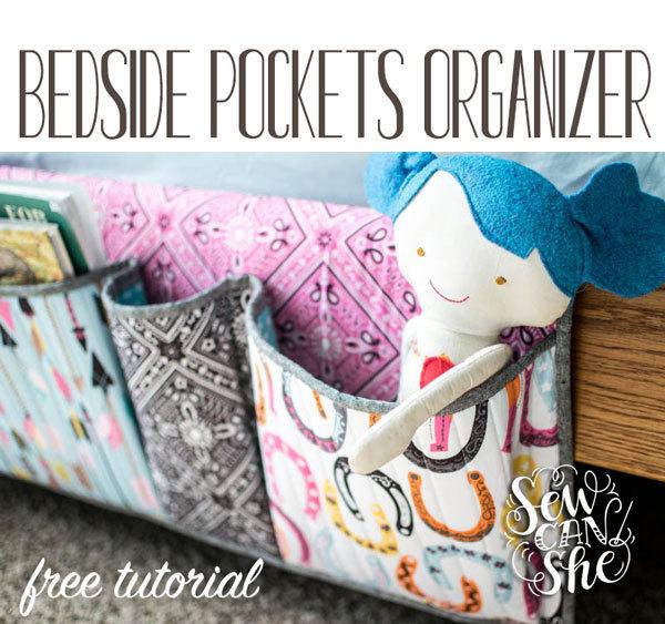 Sewcanshe- bedside pockets organizer- free tutorial