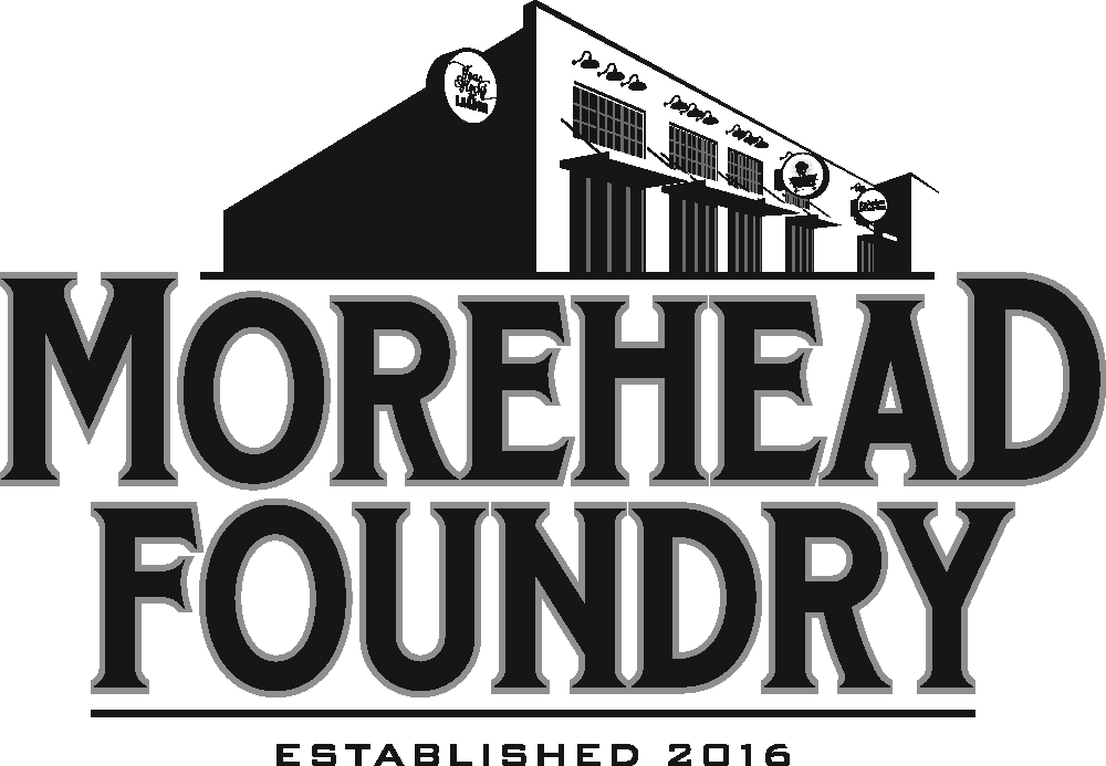 Morehead Foundry Logo White Building Logo with Black Lettering