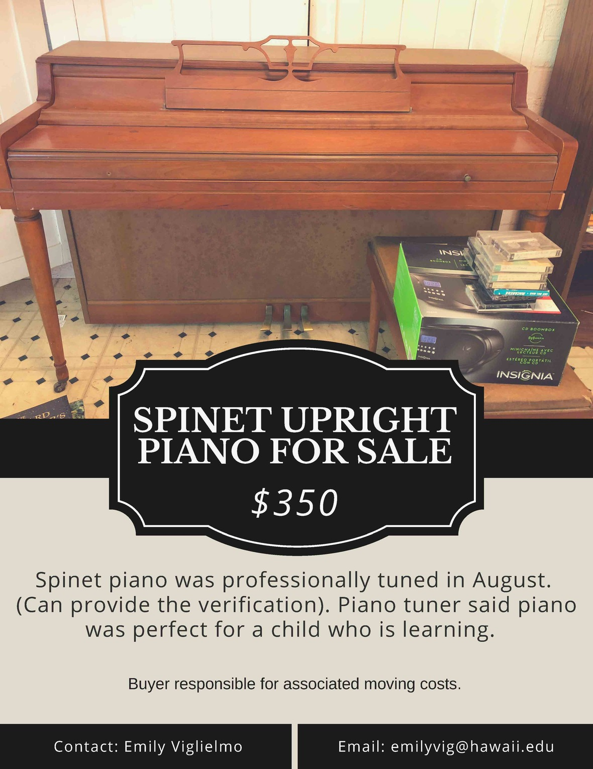 SPINET UPRIGHT PIANO FOR SALE