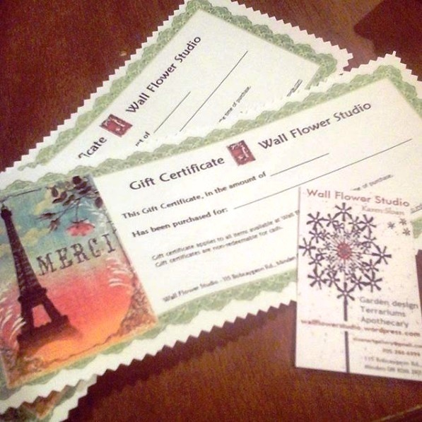 Gift certificates at wfs