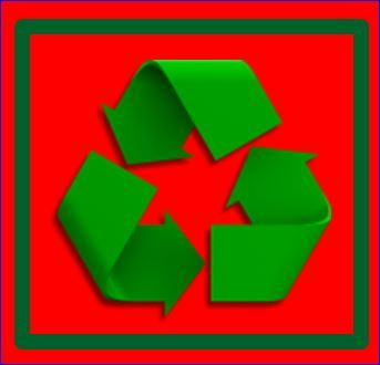 Recyc SYMBOL - Dec 2014 . red on red grn border