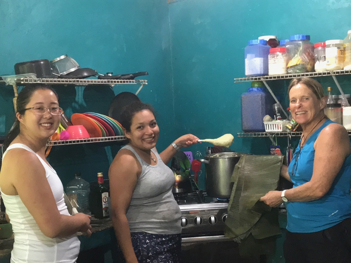 Ashleigh, Kimberly & Isabel in the kitchen making tamales