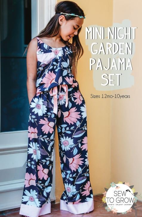 sew to grow  mini night garden pajama set sewing pattern