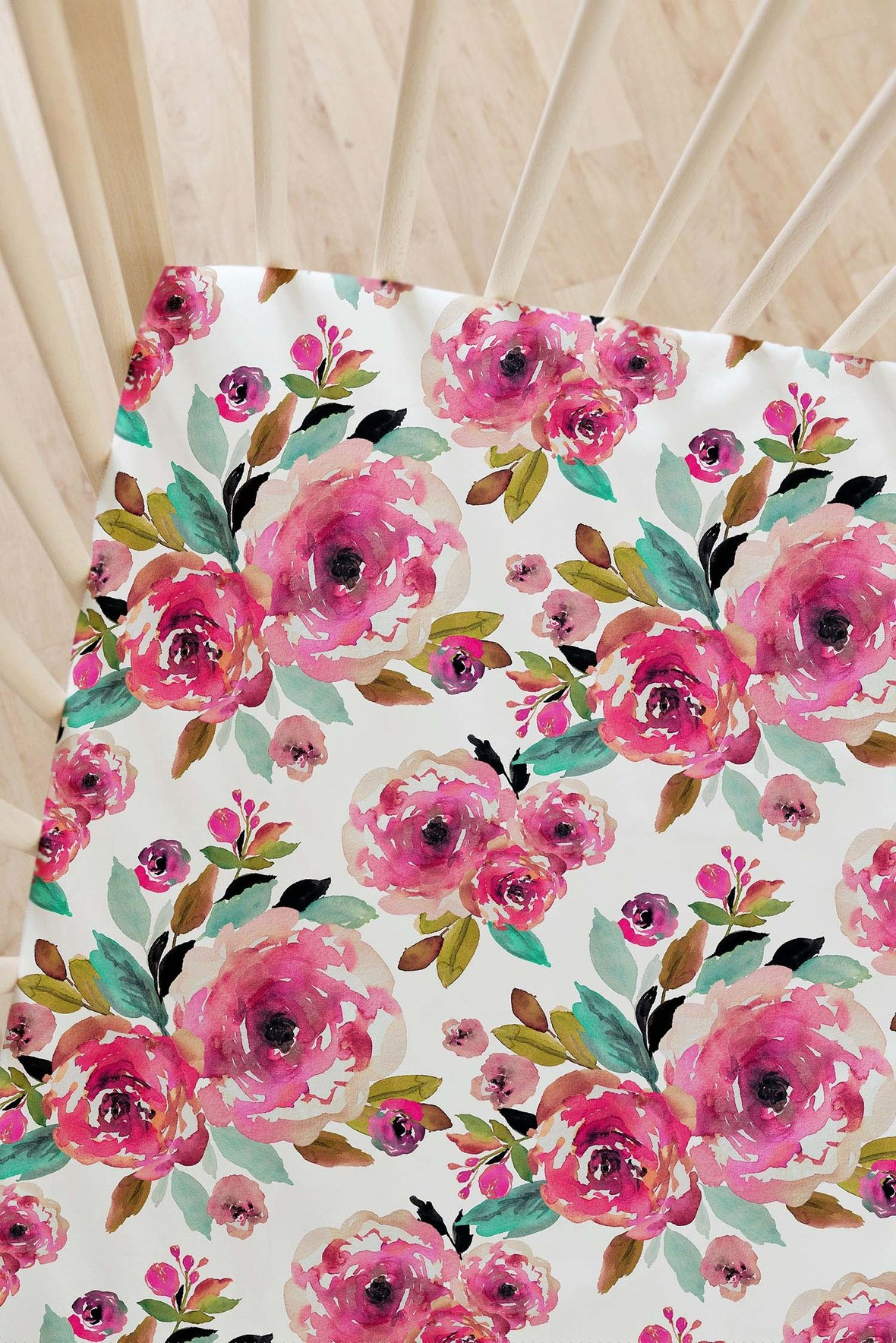 Large Roselynn Floral Crib Sheet