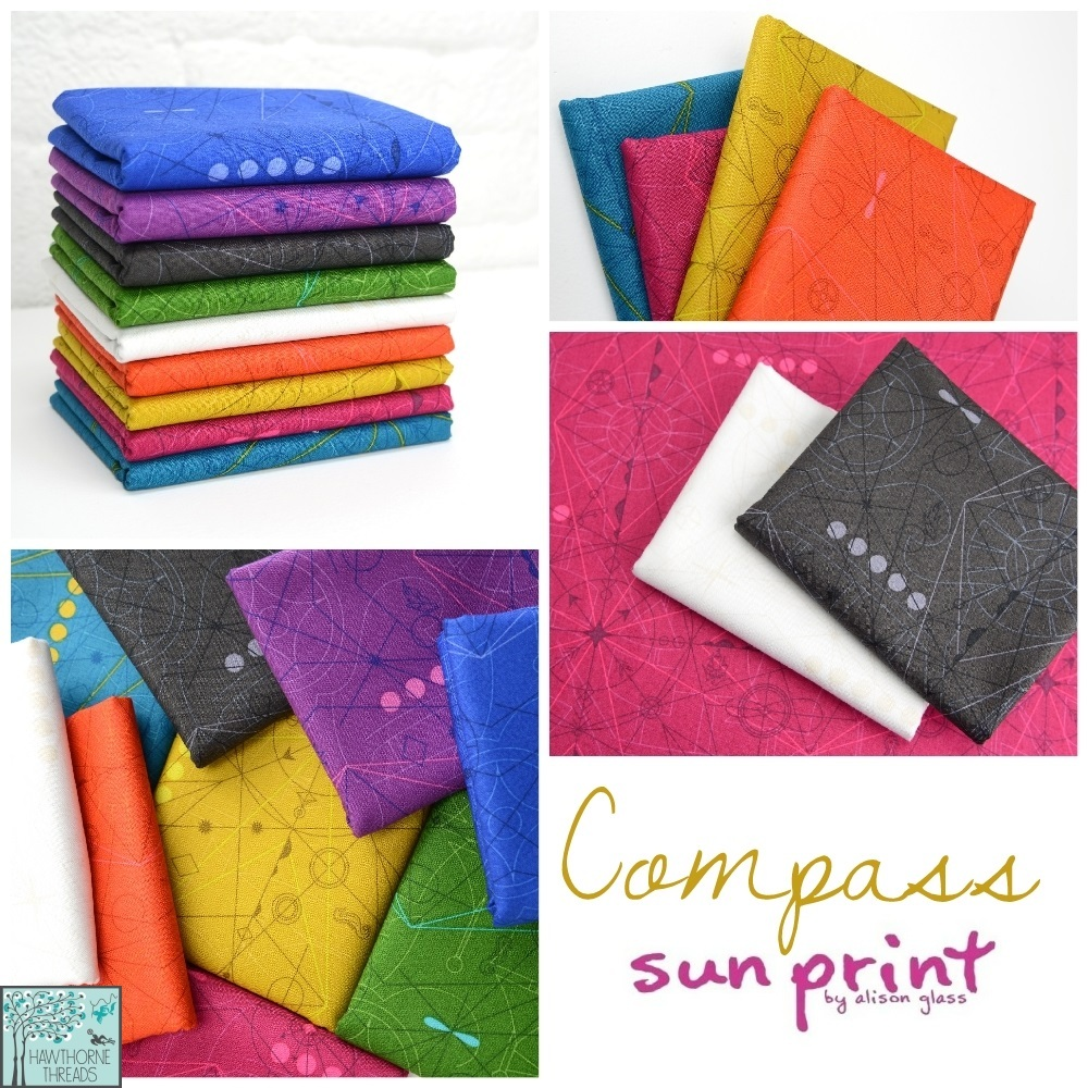 Sun Print Compass Fabric Poster