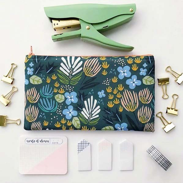 Morning Bloom Fabric Zip Pouch