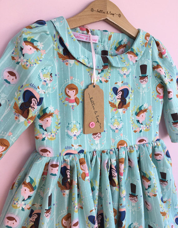 Neverland Long Sleeved Dress Button and Loop
