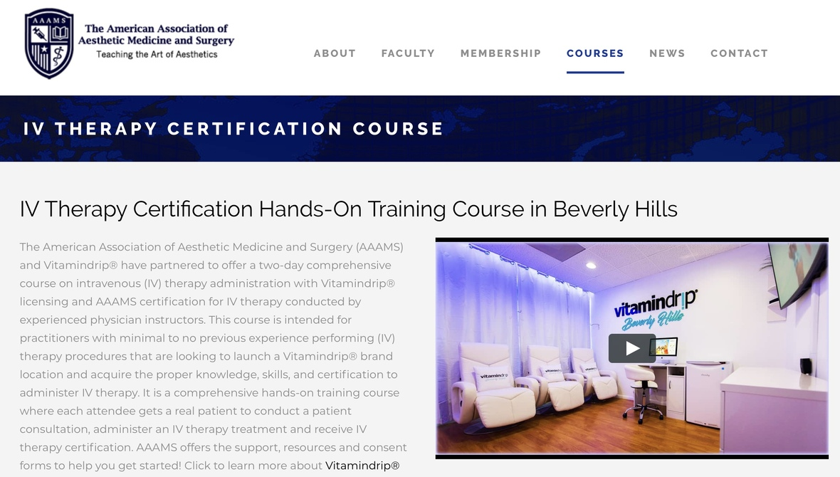 AAAMS presents IV Training Course
