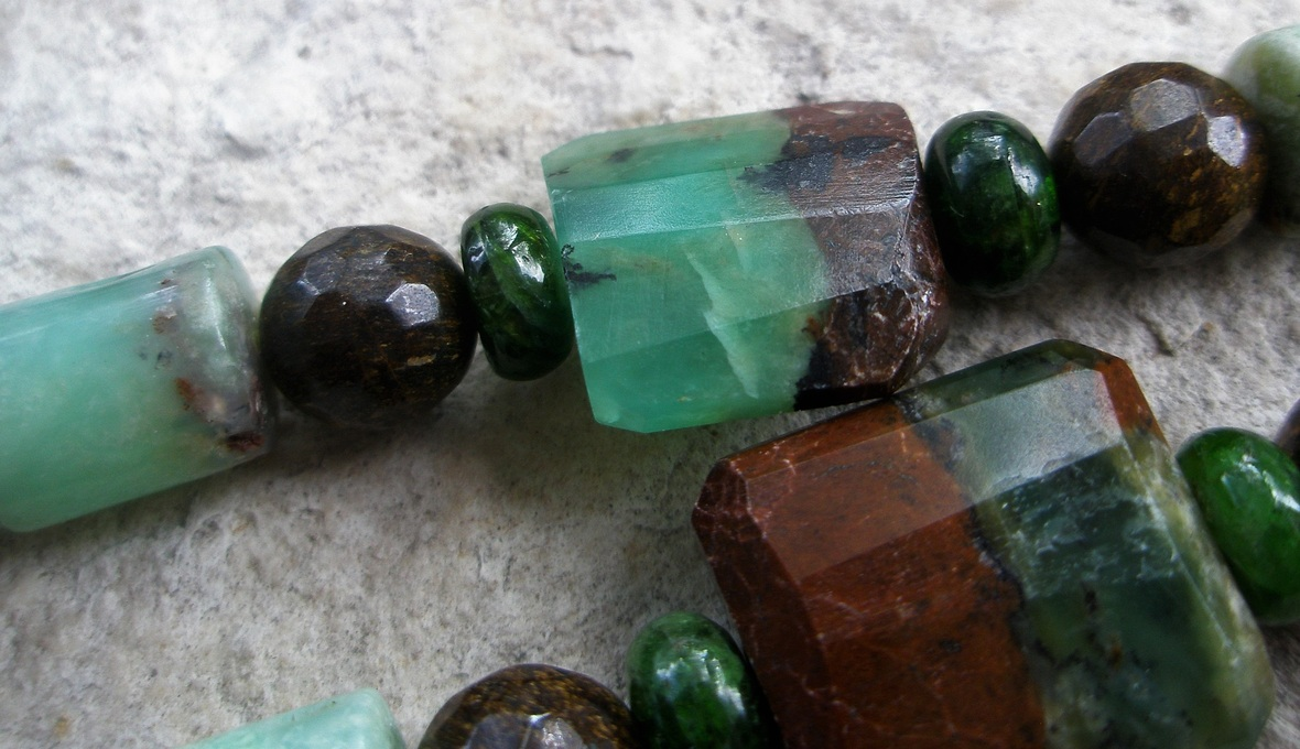 African Jade Chrysoprase Chrome Diopside and Bronzeite