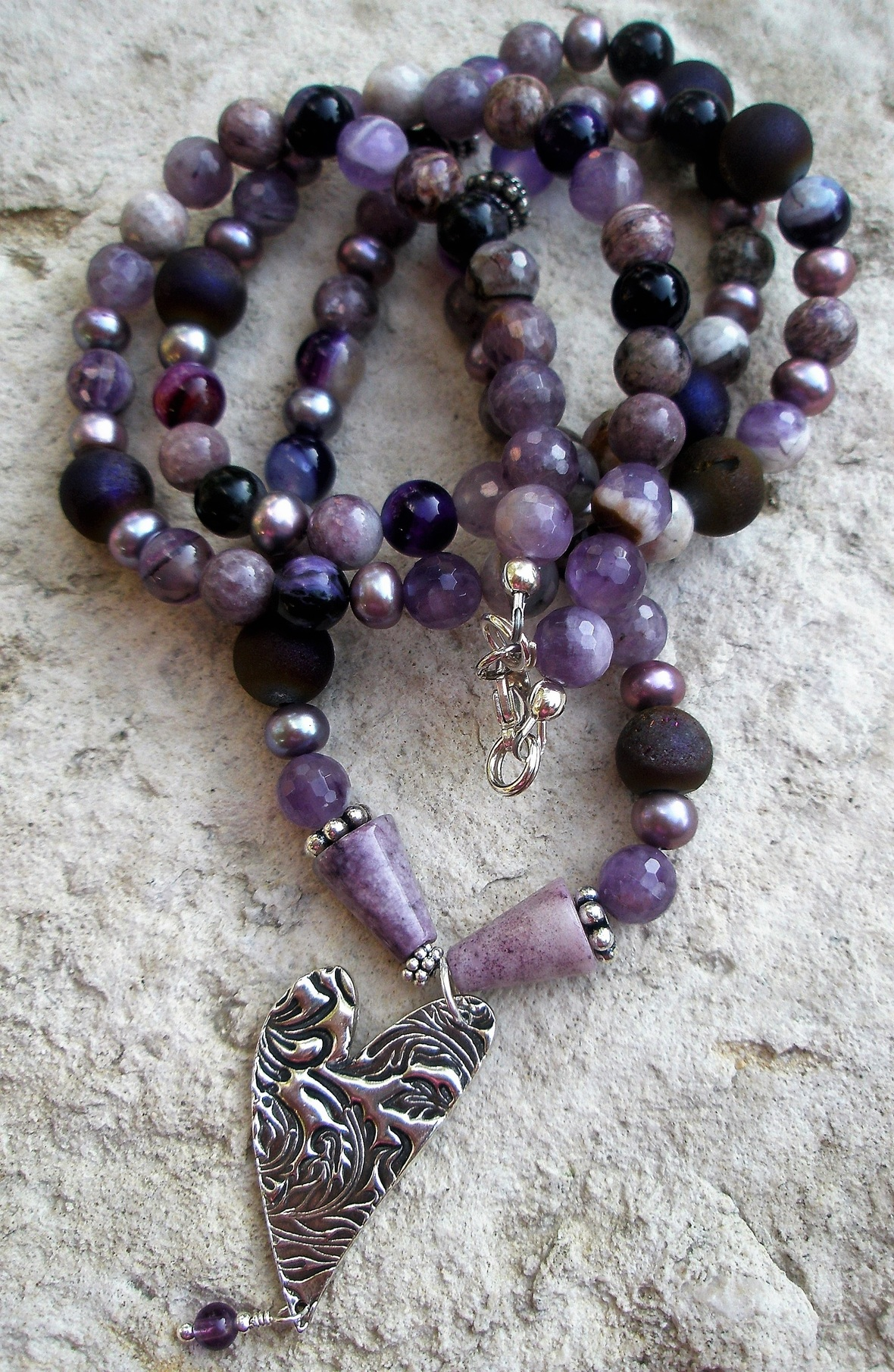 Long purple gemstone necklace with cast Sterling Silver heart pendant 2