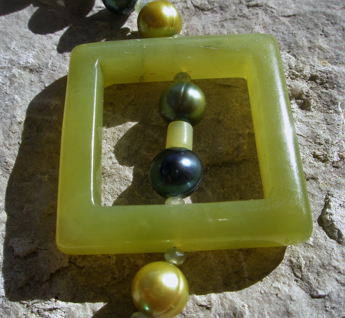 square jade bead
