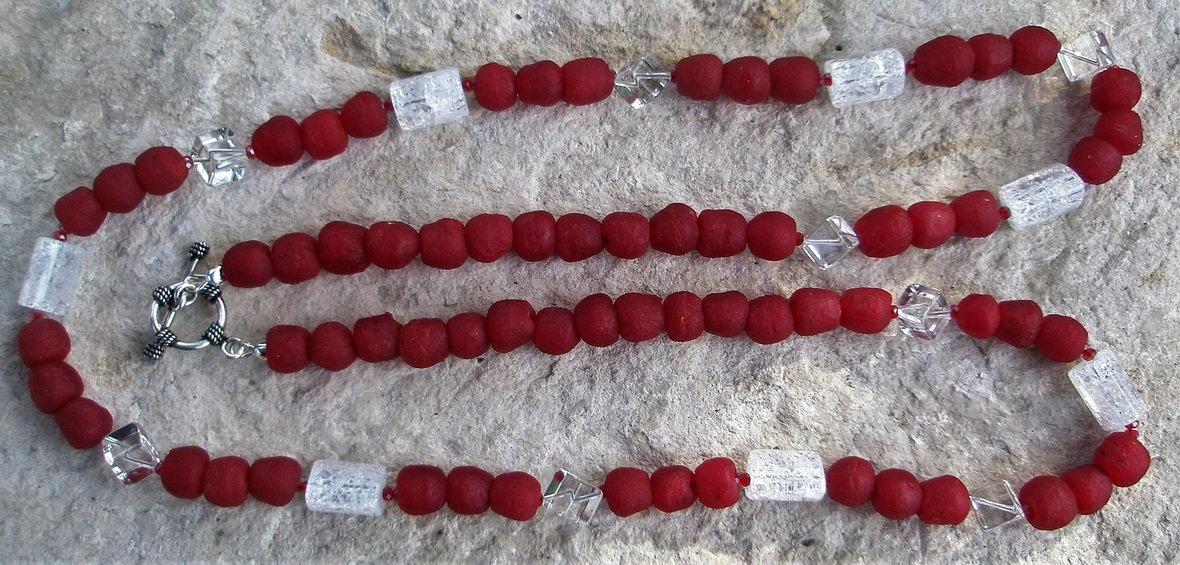 recycled red glass bead nkl