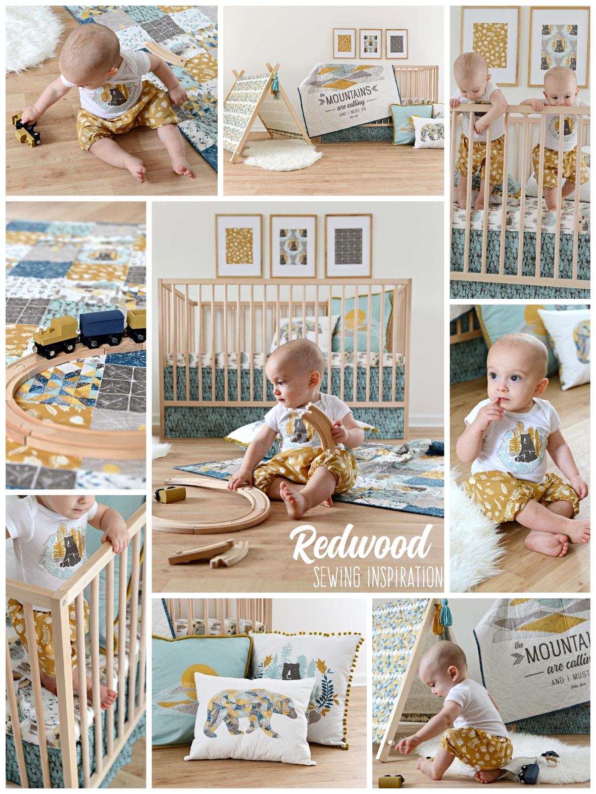 Redwood fabric boy nursery sewing inspiration