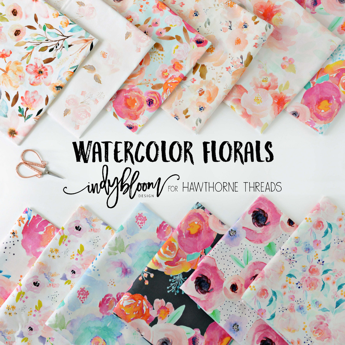 Watercolor Florals Fabric Indy Bloom for Hawthorne Threads Final Poster  6x6