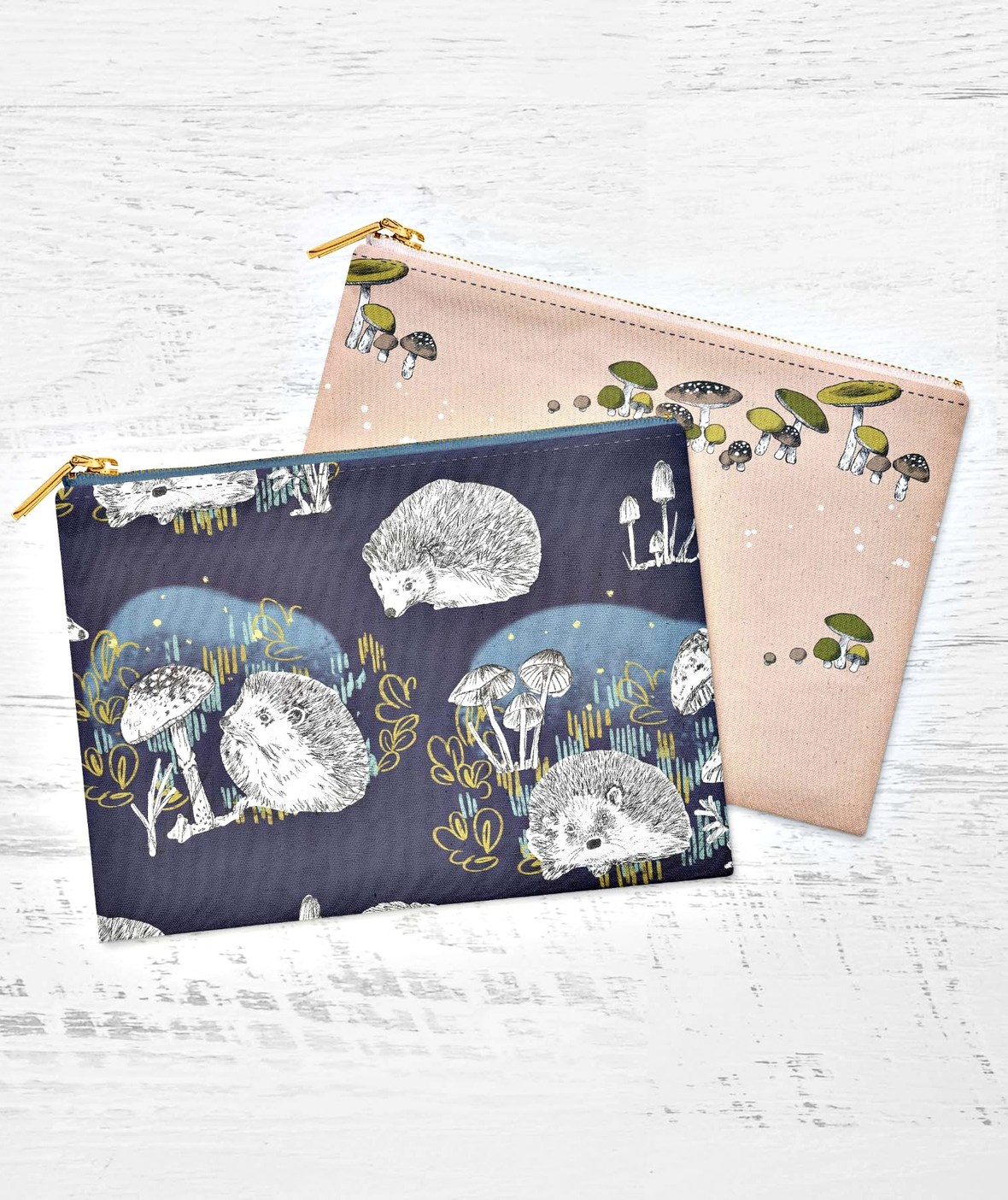 Hedgerow Linen Cotton Canvas Two Pouches Hedgehogs and Mushrooms