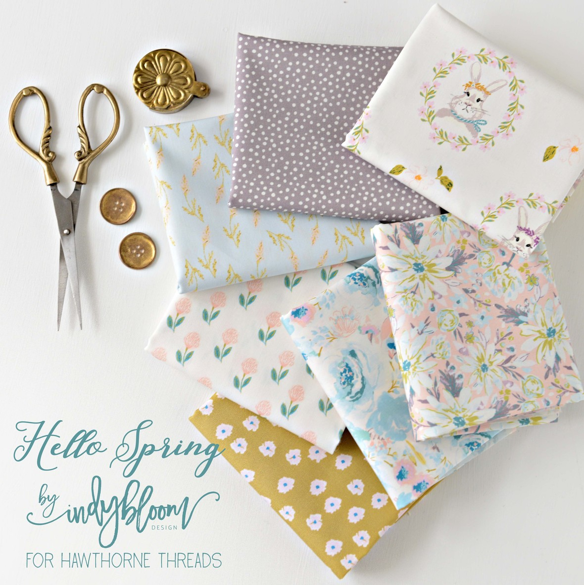 Indy Bloom for Hawthorne Threads Hello Spring Fabric Poster and Logo