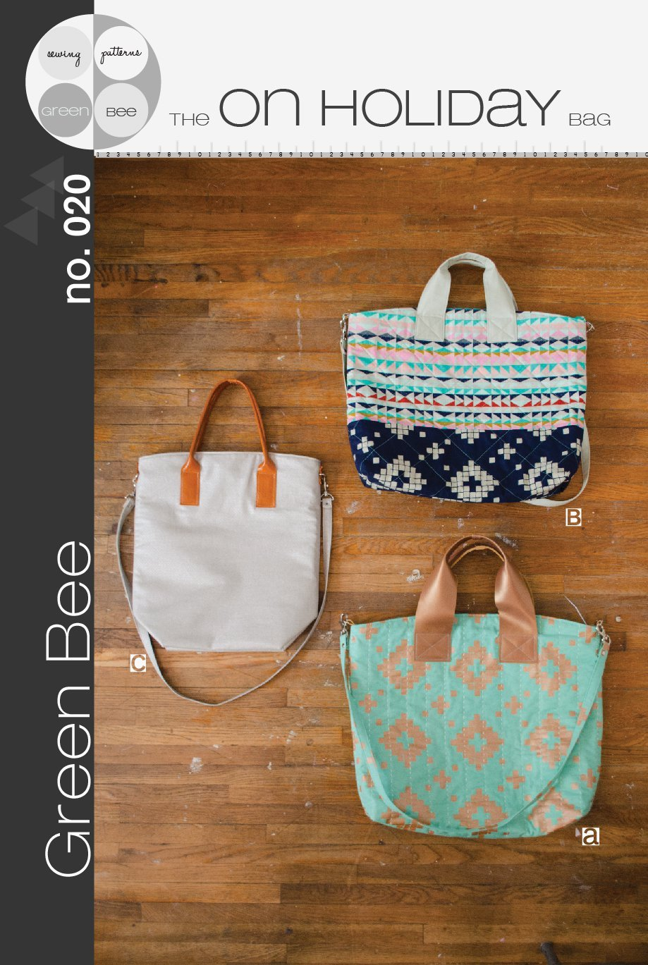green bee design on holiday bag sewing pattern