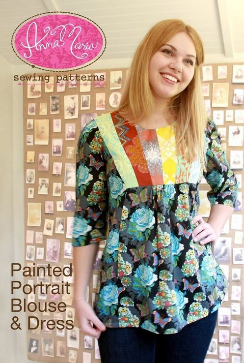 anna maria horner painted portrait blouse and dress sewing pattern