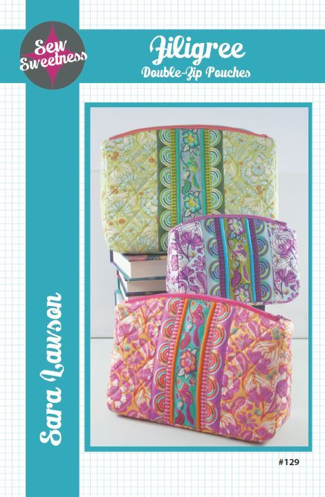 sew sweetness  filigree double zip pouches sewing pattern