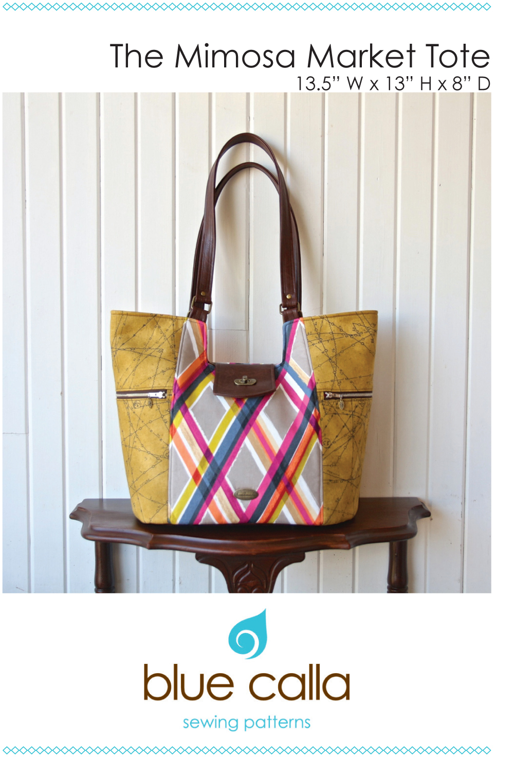blue calla the mimosa market tote sewing pattern