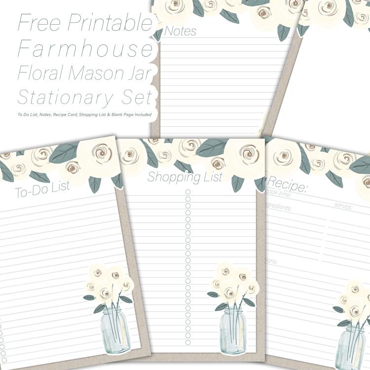 Free Printable Farmhouse Floral Mason Jar Stationary Set