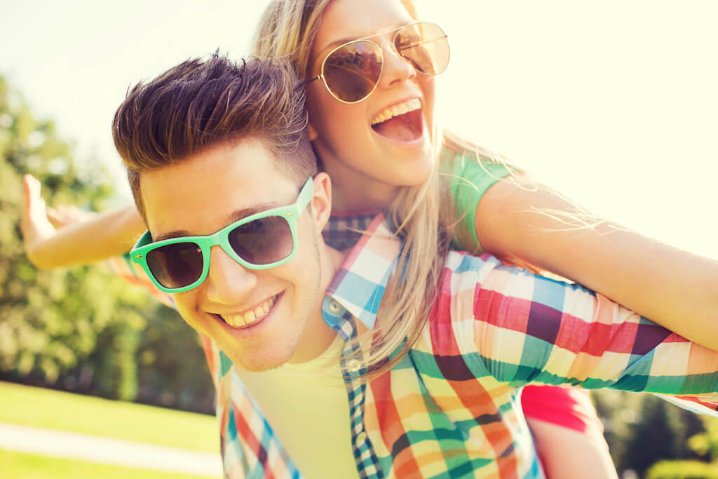 teen couple with sunglasses opt