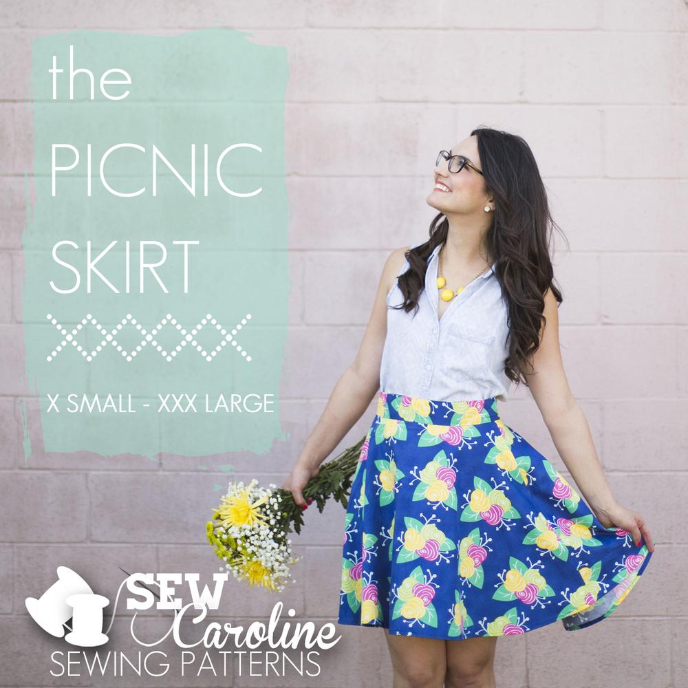 sew caroline the picnic skirt sewing pattern