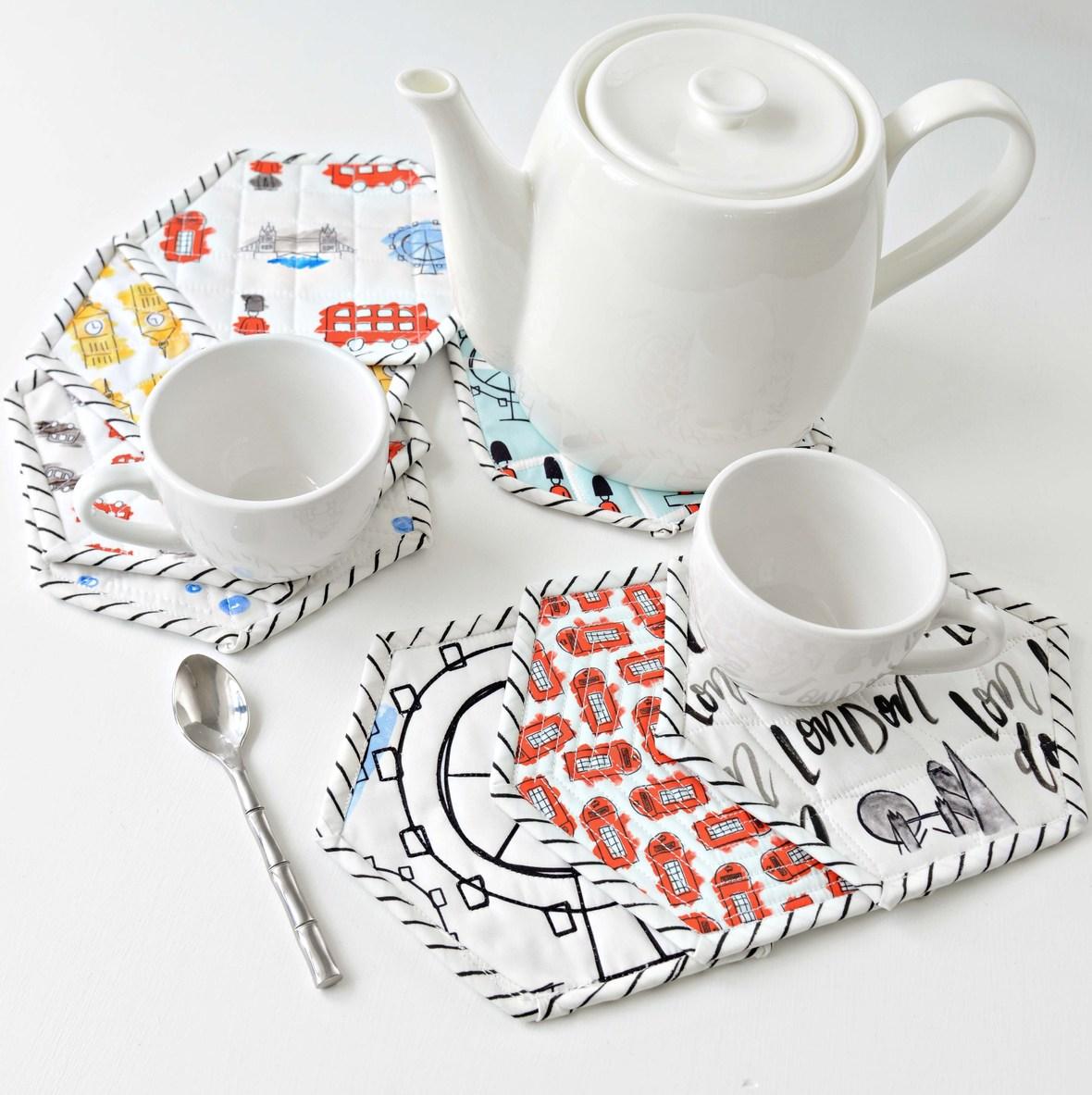 London Icons Fabric Hexagon Coasters