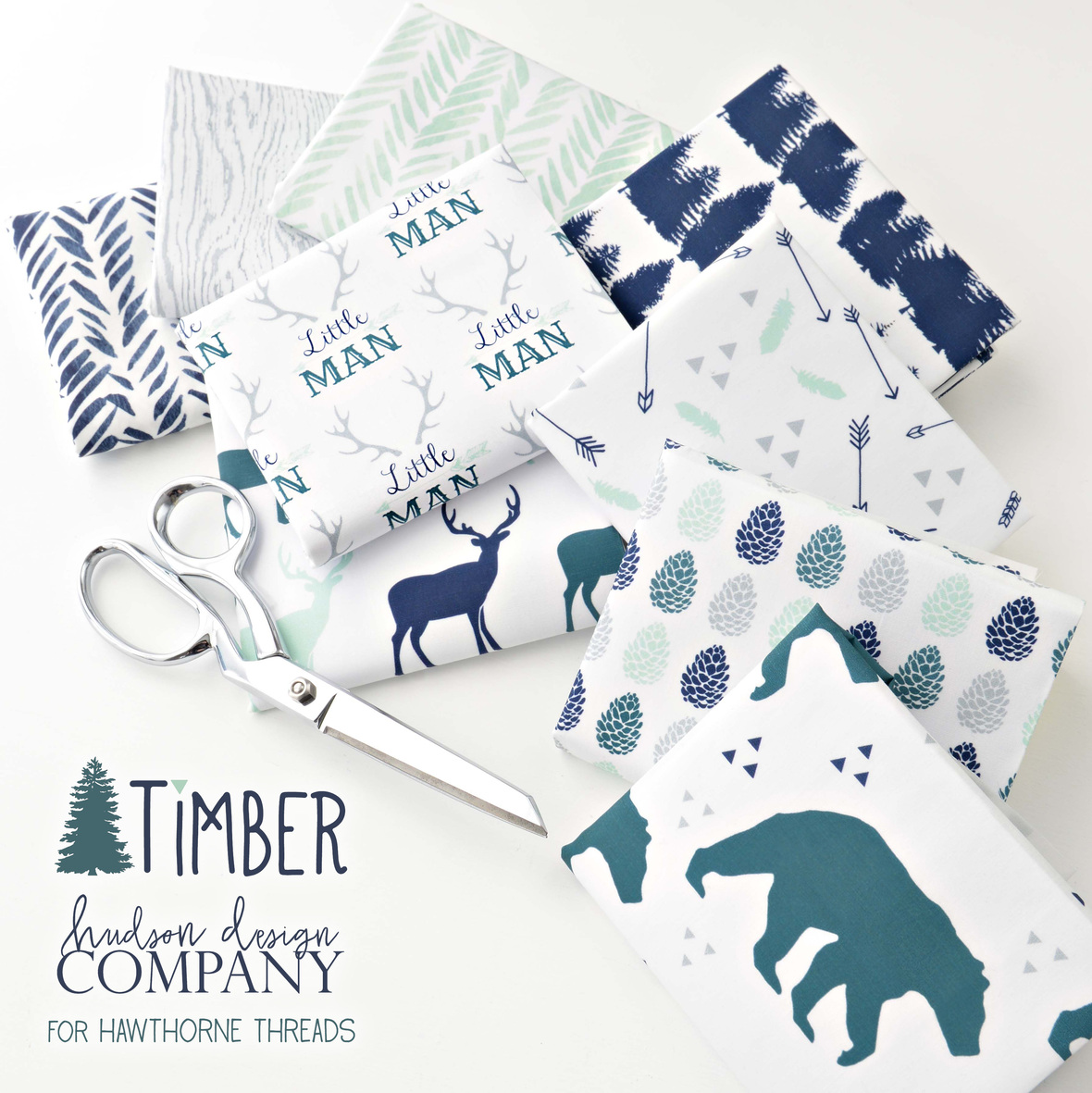 Timber Fabric by Hudson Baby Co for Hawthorne Threads Wintergreen b