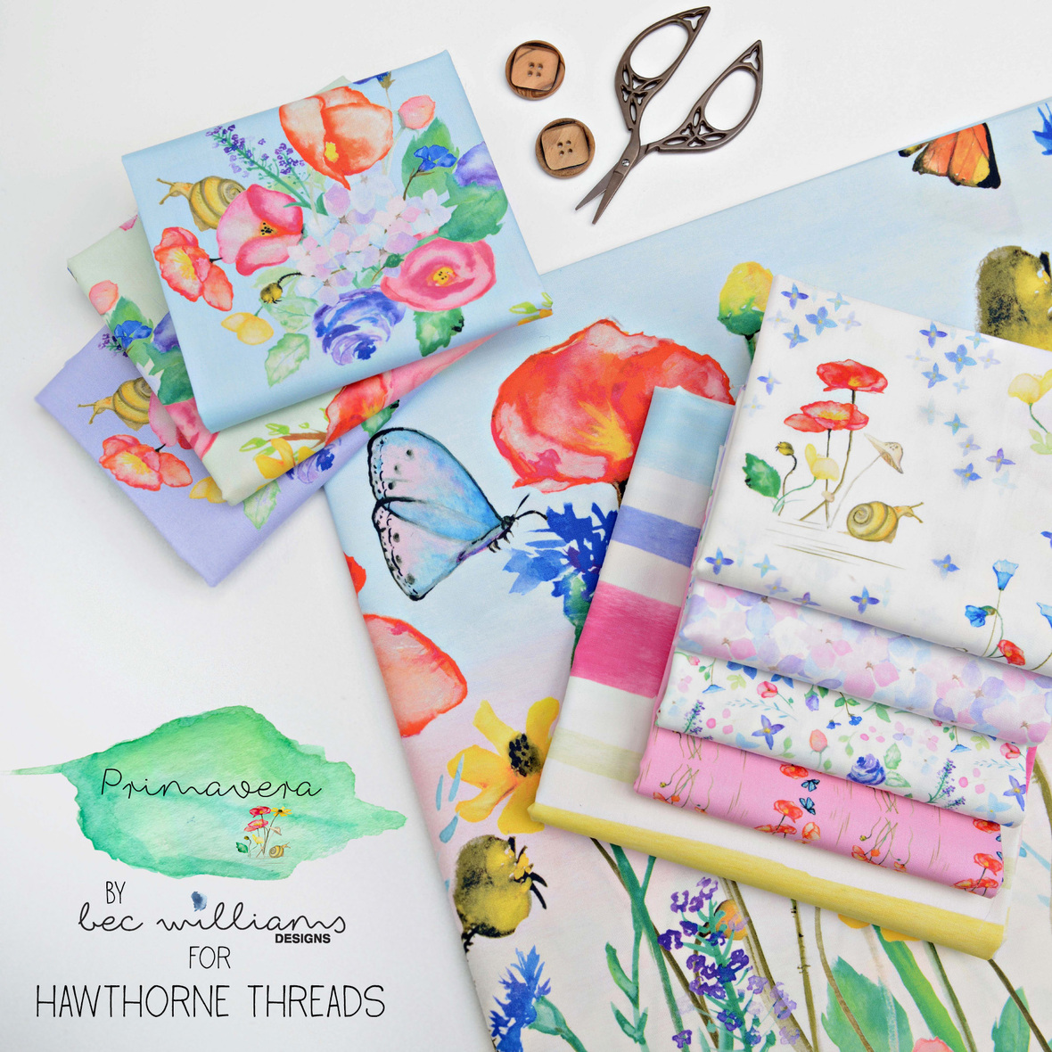 Bec Williams Primavera Fabric for Hawthorne Threads with logo