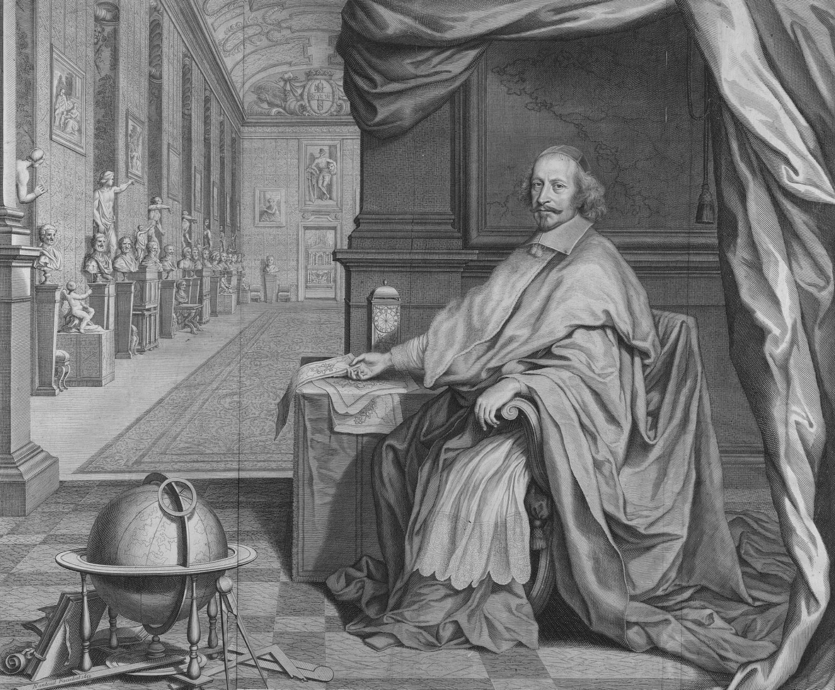 Robert Nanteuil Cardinal Jules Mazarin Seated Within the Gallery of his Palace 1659 BW