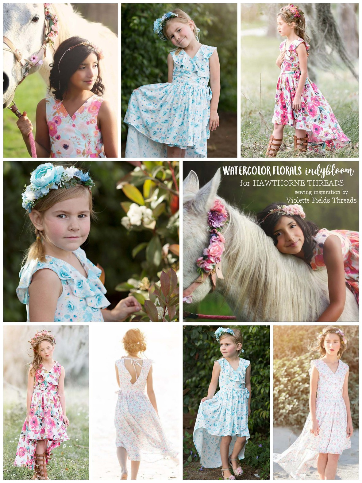 Indy Bloom Watercolor Florals for Hawthorne Threads Violette Fields Threads Elliana Dress