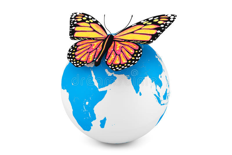 butterfly-earth-globe-white-background-31668229