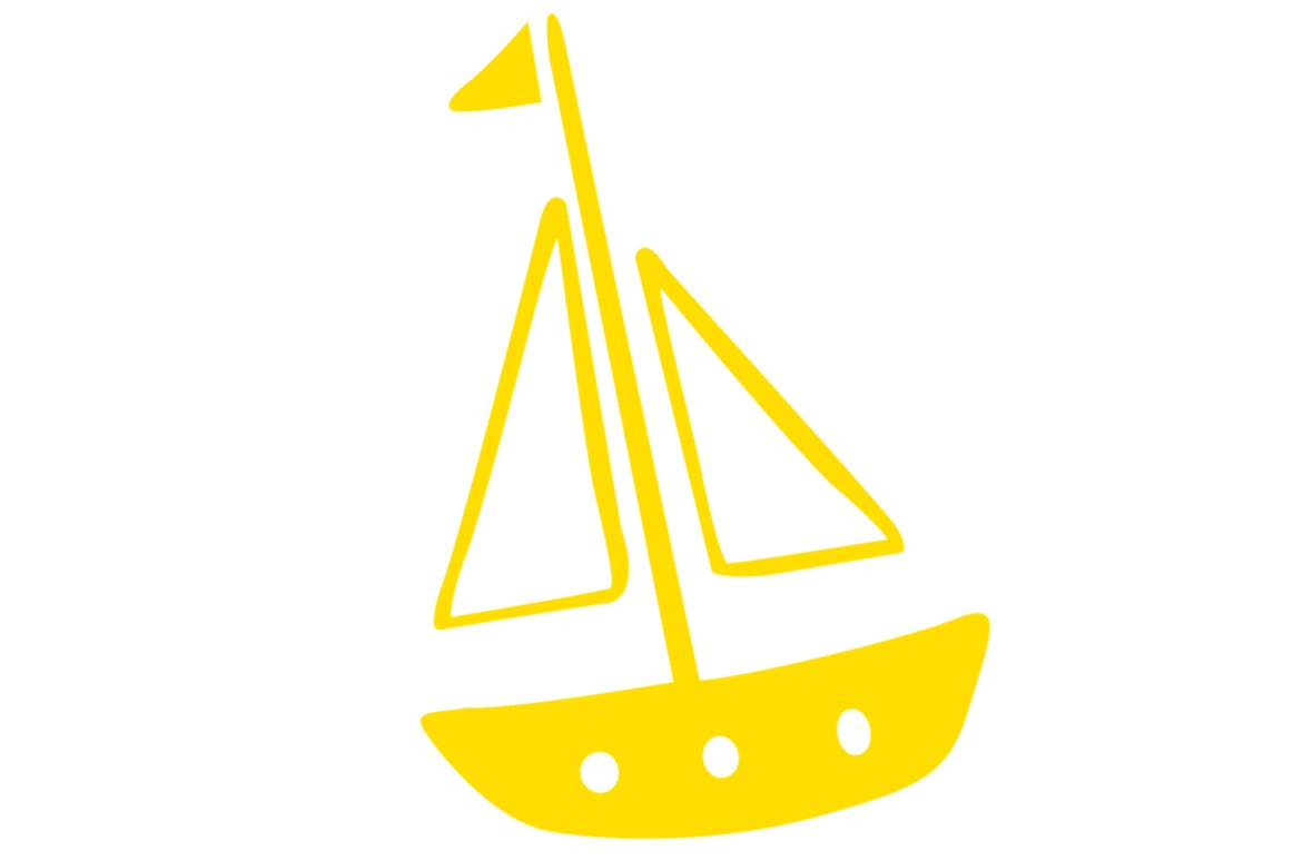 Boat yellow white background