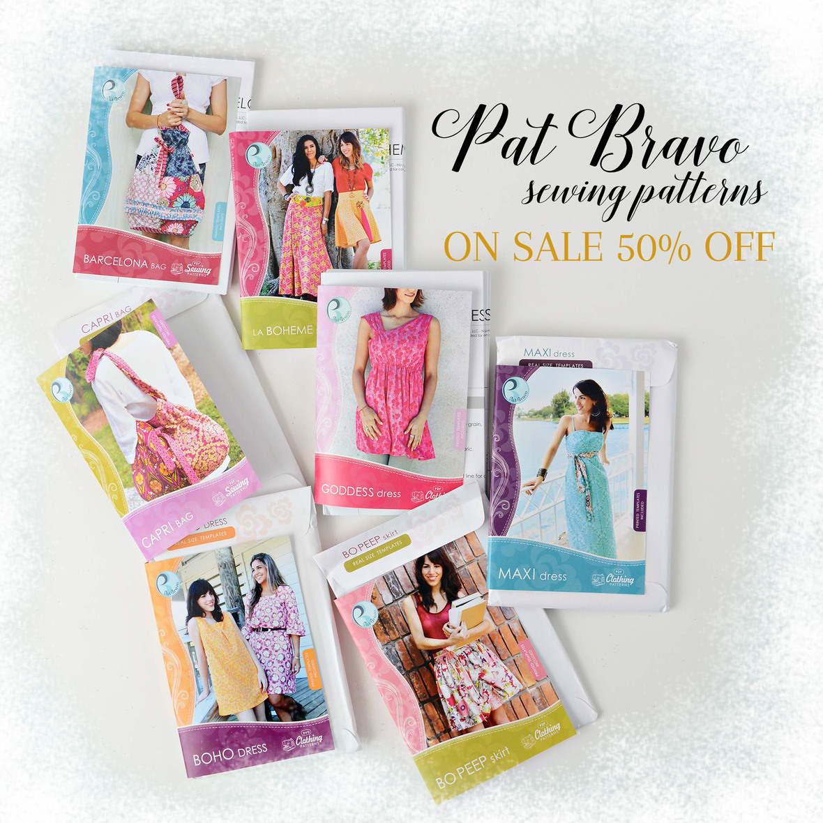 Pat Bravo Sewing Patterns On Sale with frosty border 6x6
