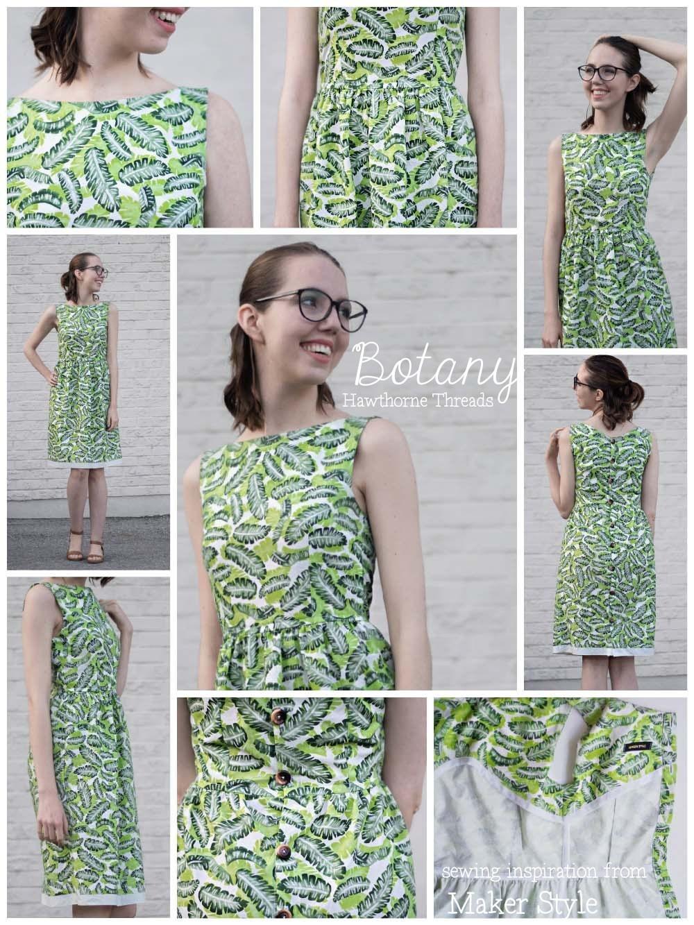 Hawthorne Threads Tropical Banana Leaf Botany Fabric Orla Dress Sewing Inspiration