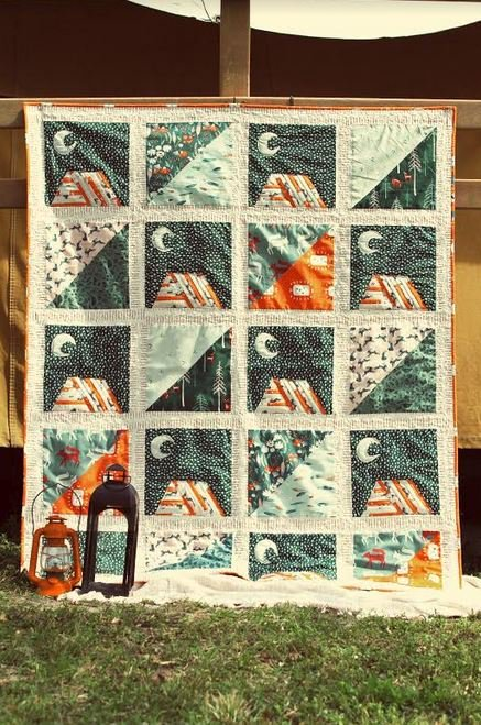 agf studio moonlit camp quilt kit sewing pattern