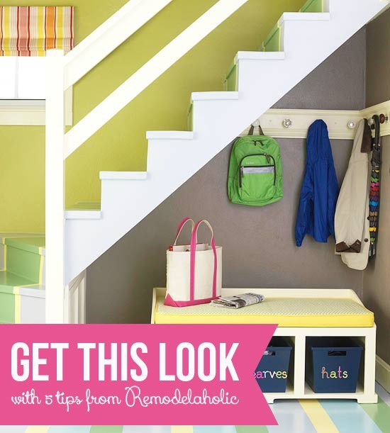 Get-This-Look-Small-Space-Mudroom-Under-The-Stairs-via-Remodelaholic