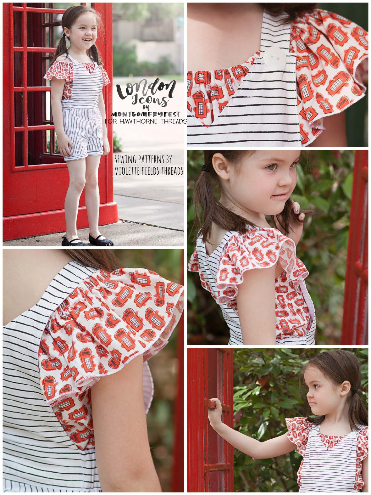 Brooklyn Overalls in Montgomery Fest London Icons fabric for Hawthorne b