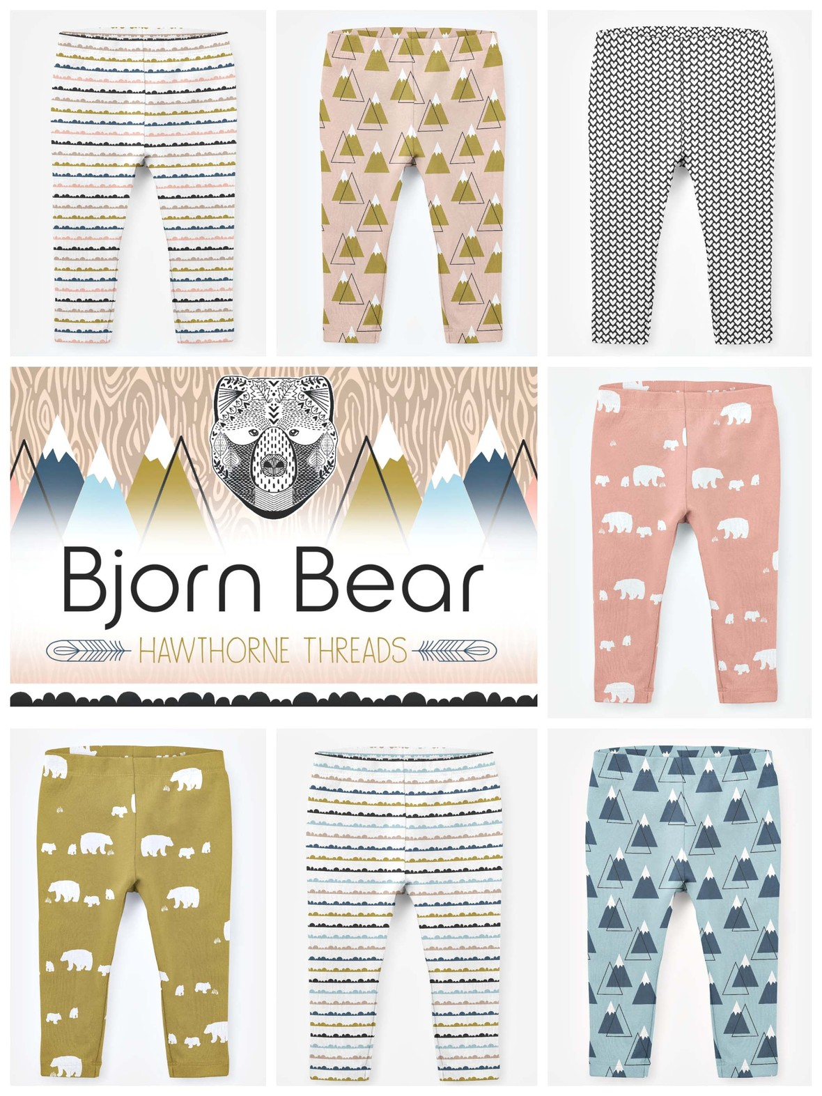 Bjorn Bear Jersey Knit Fabric Leggings