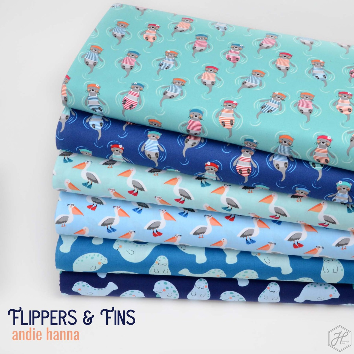 Flippers and Fins Fabric Poster Andie Hanna at Hawthorne Supply Co