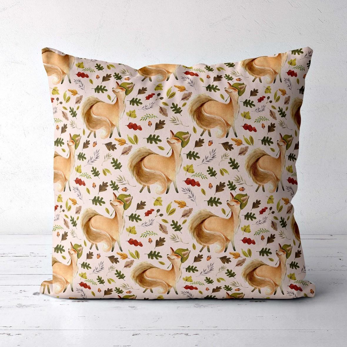 pillow big friendly fox soft peach