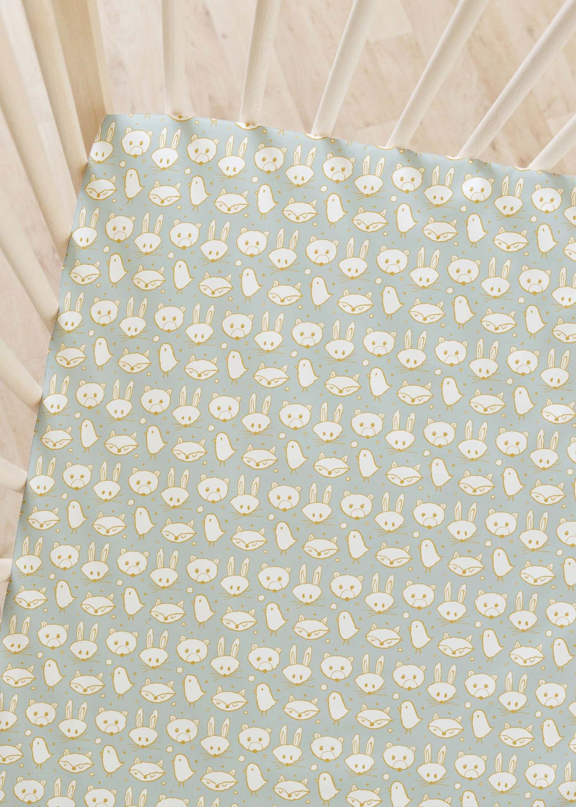 Woodland Creatures in Gold on Dusty Mint crib sheet