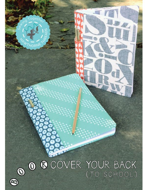 Back to School Composition Notebook Fabric Book Cover Tutorial
