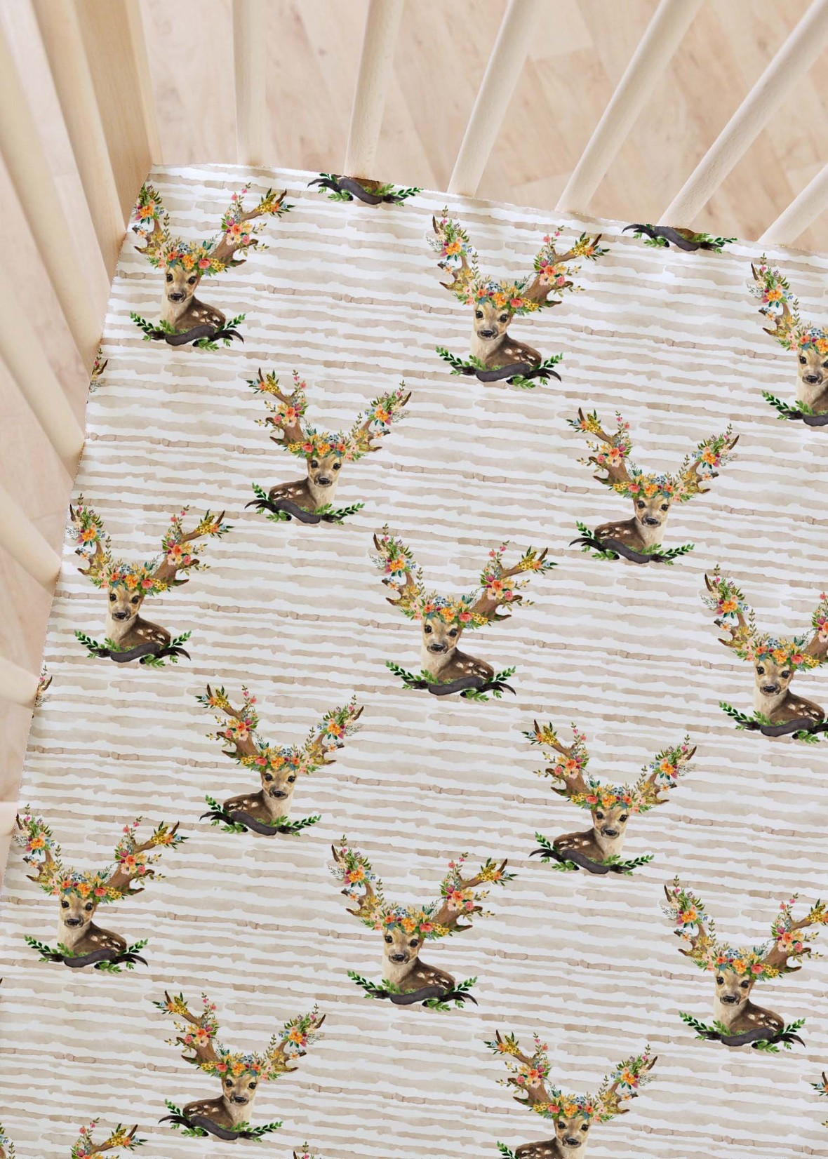 crib sheet meadow deer stripes Shopcabin at Hawthorne Supply Co