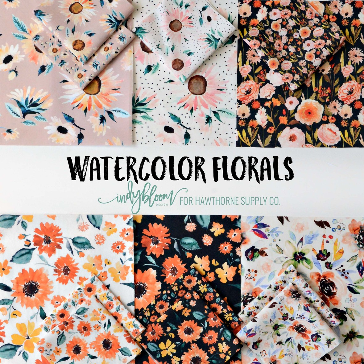 Indy Bloom for Hawthorne Supply Co Watercolor Florals August 2018