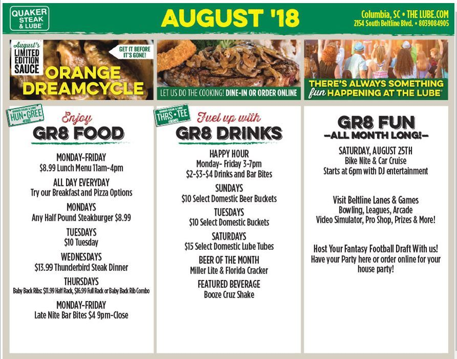 Quaker Steak and Lube Ad for August 2018
