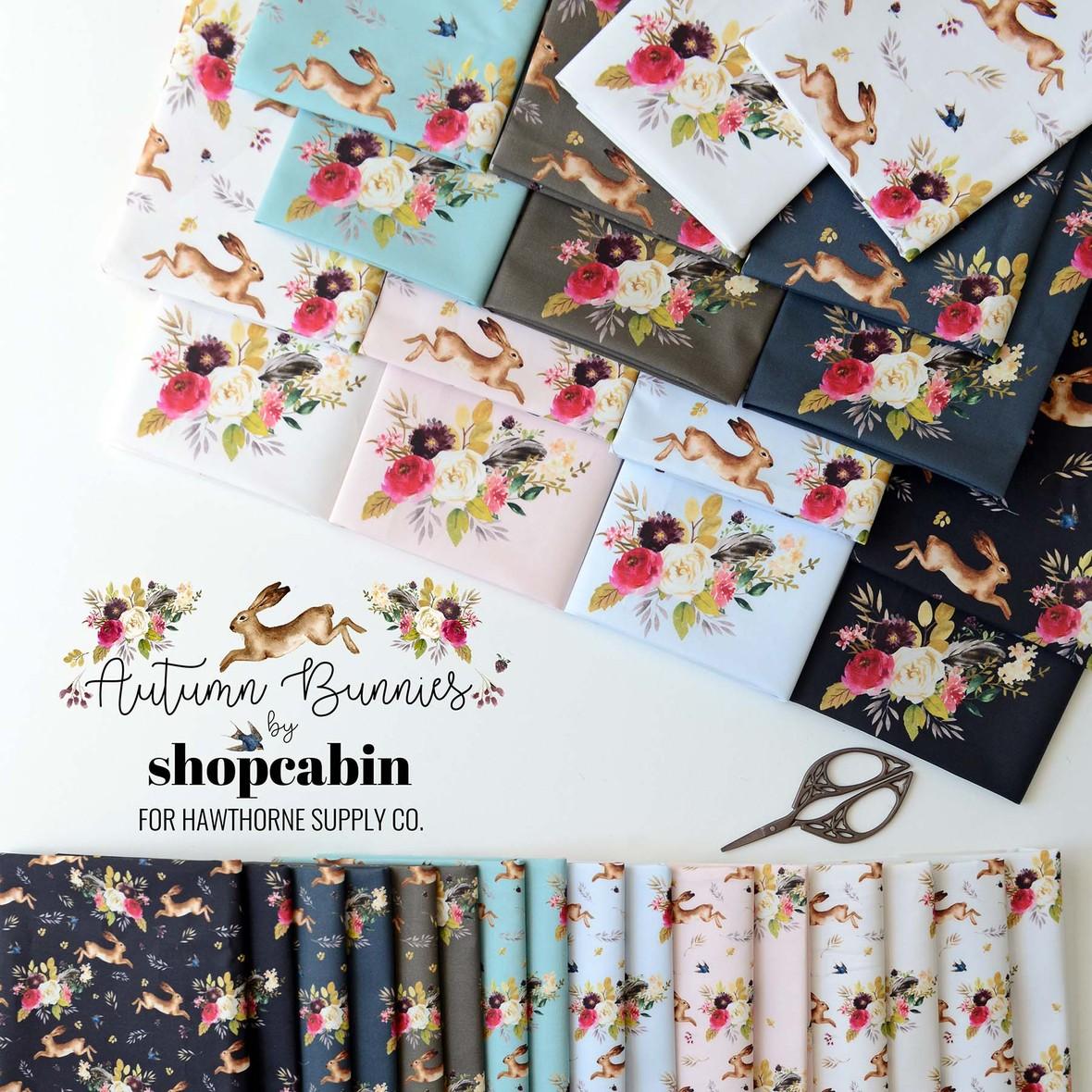 Autumn Bunnies Fabric Shopcabin for Hawthorne Supply Co